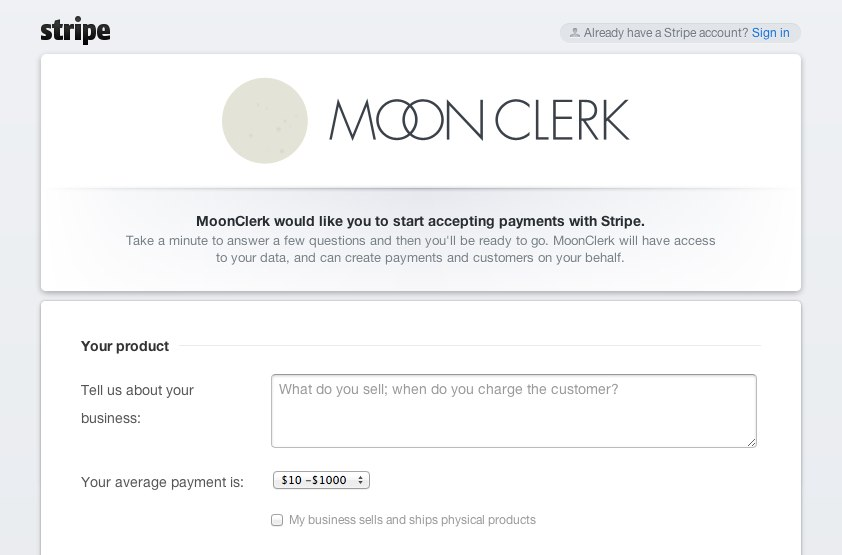 Stripe_ Connect with MoonClerk